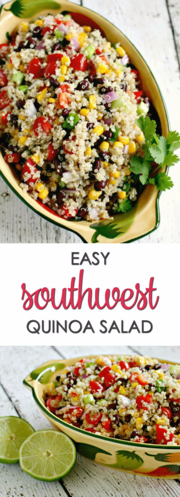Easy Dinner Ideas for One - Southwest Quinoa Salad - Quick, Fast and Simple Recipes to Make for a Single Person - Freeze and Make Ahead Dinner Recipe Tips for Best Weeknight Dinners for Singles - Chicken, Fish, Vegetable, No Bake and Vegetarian Options - Crockpot, Microwave, Healthy, Lowfat Options