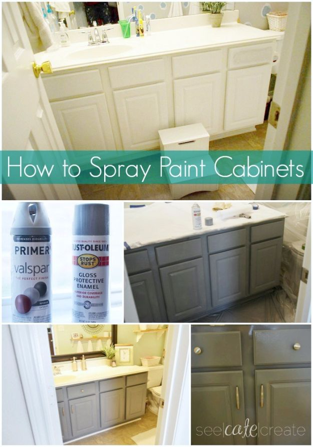 Easy Home Repair Hacks - Spray Paint Your Cabinet - Quick Ways To Fix Your Home With Cheap and Fast DIY Projects - Step by step Tutorials, Good Ideas for Renovating, Simple Tips and Tricks for Home Improvement on A Budget #diy #homeimprovement