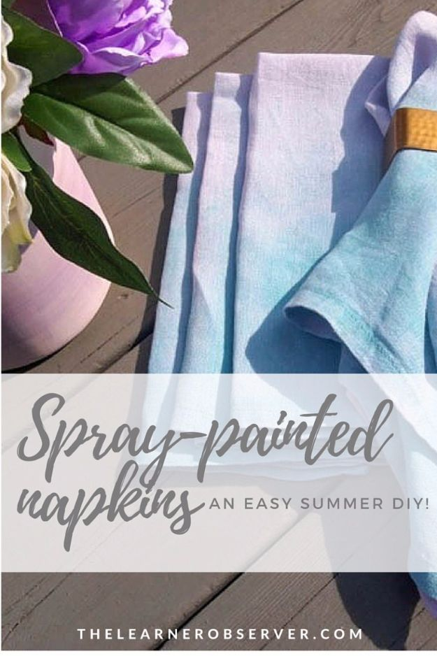 DIY Napkins and Placemats - Spray Painted Napkins - Easy Sewing Projects, Cute No Sew Ideas and Creative Ways To Make a Napkin or Placemat - Quick DIY Gift Ideas for Friends, Family and Awesome Home Decor - Cheap Do It Yourself Kitchen Decor - Simple Wedding Gifts You Can Make On A Budget