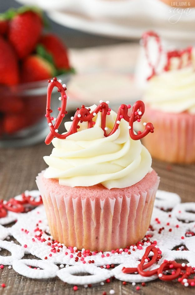Cool Cupcake Decorating Ideas - Strawberry Cupcakes With Cream Cheese Frosting - Easy Ways To Decorate Cute, Adorable Cupcakes - Quick Recipes and Simple Decorating Tips With Icing, Candy, Chocolate, Buttercream Frosting and Fruit kids birthday party ideas cake