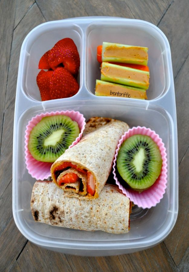 Back to School Lunch Ideas - Strawberry Roll-Ups - Quick Snacks, Lunches and Homemade Lunchables - Bento Box Style Lunch for People in A Hurry - Fast Lunch Recipes to Pack Ahead - Healthy Ideas for Kids, Teens and Adults
