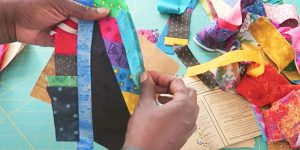 She Pieces String Blocks Out Of Scraps In A Diamond Shape…Watch How She Does it!