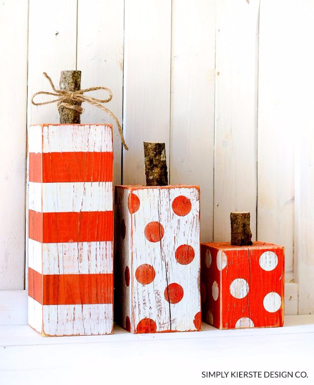 Best Crafts for Fall Decorating - Striped & Polka Dot 4x4 Wood Pumpkins - DIY Home Decor, Mason Jar Ideas, Dollar Store Crafts, Rustic Pumpkin Ideas, Wreaths, Candles and Wall Art, Centerpieces, Wedding Decorations, Homemade Gifts, Craft Projects with Leaves, Flowers and Burlap, Painted Art, Candles and Luminaries for Cool Home Decor - Quick and Easy Projects With Step by Step Tutorials and Instructions http://diyjoy.com/best-fall-decorating-ideas