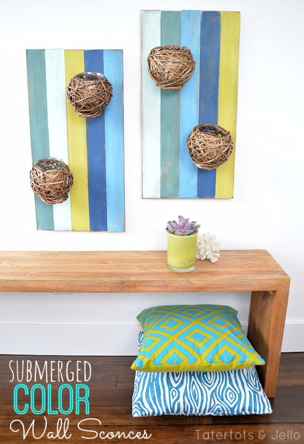 Rustic Wall Art Ideas - Submerged Color DIY Wall Art Sconces - DIY Farmhouse Wall Art and Vintage Decor for Walls - Country Crafts and Rustic Home Decor Made Easy With Instructions and Tutorials - String Art, Repurposed Pallet Projects, Mason Jar Crafts, Vintage Signs, Word Art and Letters, Monograms and Sewing Projects http://diyjoy.com/rustic-wall-art-ideas