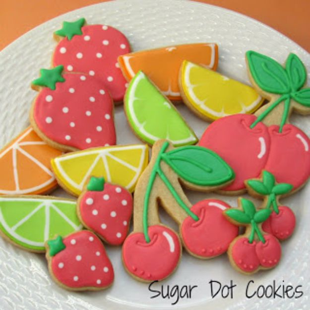 Cool Cookie Decorating Ideas - Summer Fruit Sugar Cookies - Easy Ways To Decorate Cute, Adorable Cookies - Quick Recipes and Simple Decorating Tips With Icing, Candy, Chocolate, Buttercream Frosting and Fruit - Best Party Trays and Cookie Arrangements http://diyjoy.com/cookie-decorating-ideas