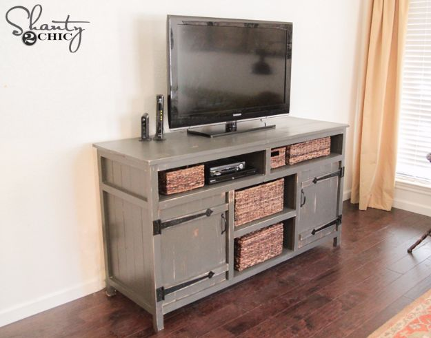 DIY Media Consoles and TV Stands - Super Easy Media Console - Make a Do It Yourself Entertainment Center With These Easy Step By Step Tutorials - Easy Farmhouse Decor Media Stand for Television - Free Plans and Instructions for Building and Painting Your Own DIY Furniture - IKEA Hacks for TV Stand Idea - Quick and Easy Ways to Decorate Your Home On A Budget http://diyjoy.com/diy-tv-media-consoles