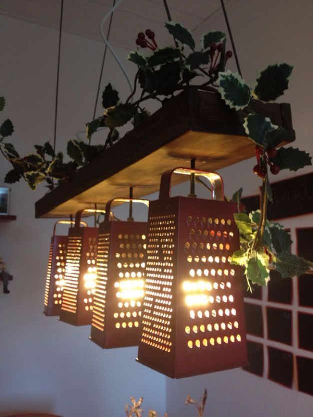 DIY Lighting Ideas and Cool DIY Light Projects for the Home - Suspended Lamp Made Out Of Recycled Graters - Easy DIY Ideas for Chandeliers, lights, lamps, awesome pendants and creative hanging fixtures, complete with tutorials with instructions. Cheap do it yourself lighting tutorials for indoor - bedroom, living room, bathroom, kitchen DIY Projects and Crafts for Women and Men