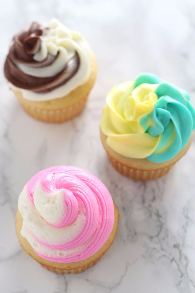 Cool Cupcake Decorating Ideas - Swirled Cupcake Frosting - Easy Ways To Decorate Cute, Adorable Cupcakes - Quick Recipes and Simple Decorating Tips With Icing, Candy, Chocolate, Buttercream Frosting and Fruit kids birthday party ideas cake