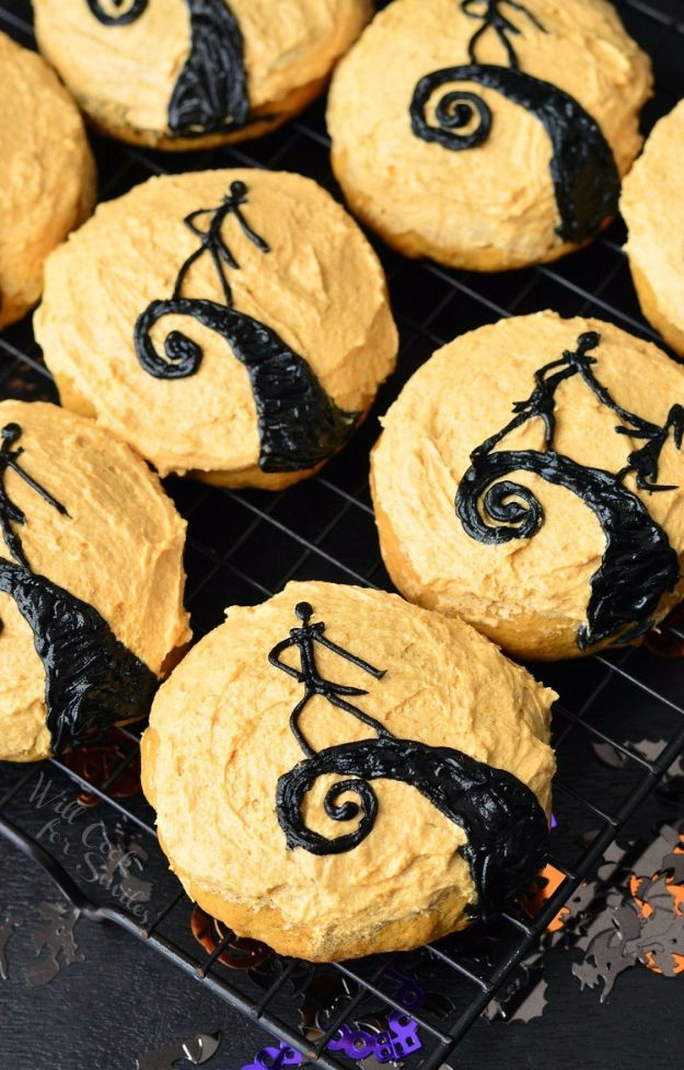 Cute Halloween Cookies - The Nightmare Before Christmas Pumpkin Cookies - Easy Recipes and Cookie Tutorials for Making Quick Halloween Treats - Spooky DIY Decorated Ghosts, Pumpkins, Bats, No Bake, Spiders and Spiderwebs, Tombstones and Healthy Options, Kids and Teens Cookies for School http://diyjoy.com/halloween-cookies-ideas