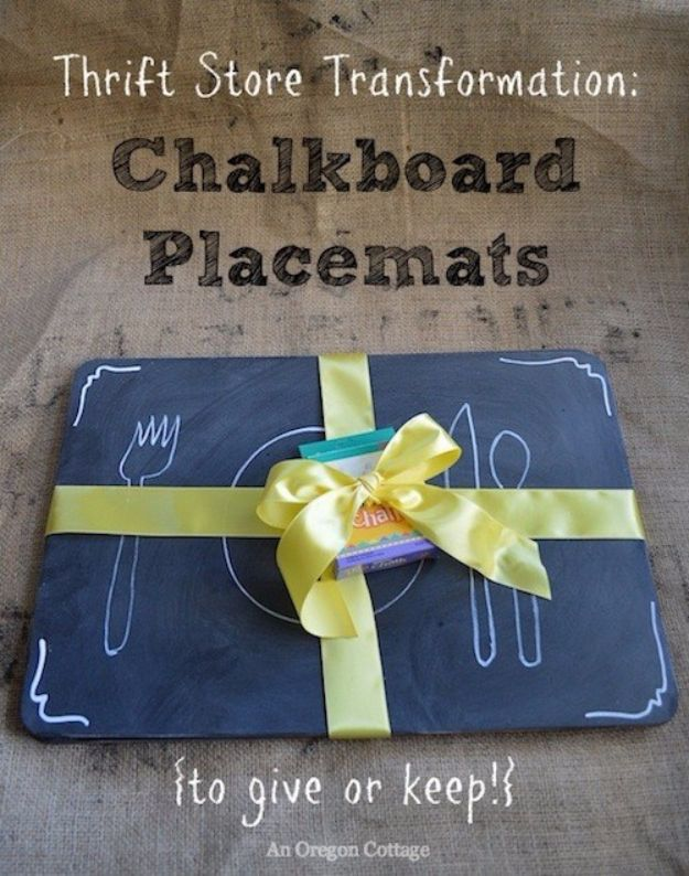 DIY Napkins and Placemats - Thrifted Chalkboard Placemats - Easy Sewing Projects, Cute No Sew Ideas and Creative Ways To Make a Napkin or Placemat - Quick DIY Gift Ideas for Friends, Family and Awesome Home Decor - Cheap Do It Yourself Kitchen Decor - Simple Wedding Gifts You Can Make On A Budget