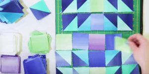 She Cuts Squares And Sews Them Into Triangles, Making It Look Like Colorful Crystals!