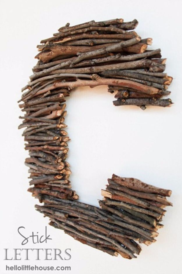Best Crafts for Fall Decorating - Twig Stick Letters - DIY Home Decor, Mason Jar Ideas, Dollar Store Crafts, Rustic Pumpkin Ideas, Wreaths, Candles and Wall Art, Centerpieces, Wedding Decorations, Homemade Gifts, Craft Projects with Leaves, Flowers and Burlap, Painted Art, Candles and Luminaries for Cool Home Decor - Quick and Easy Projects With Step by Step Tutorials and Instructions