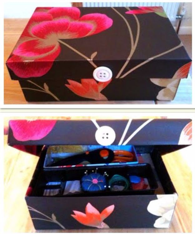 DIY Ideas With Shoe Boxes - Two Tiered Sewing Kit - Shoe Box Crafts and Organizers for Storage - How To Make A Shelf, Makeup Organizer, Kids Room Decoration, Storage Ideas Projects - Cheap Home Decor DIY Ideas for Kids, Adults and Teens Rooms http://diyjoy.com/diy-ideas-shoe-boxes