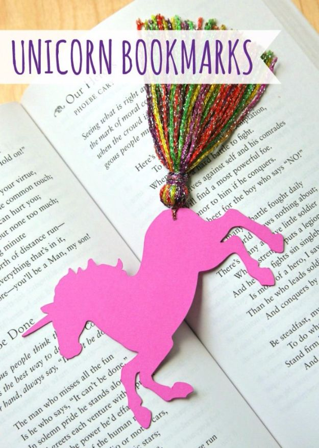 DIY Ideas With Yarn and Best Yarn Crafts - Unicorn Bookmarks With Yarn Tassels - Wall Hangings, Easy Dream Catchers, Crochet Ideas for Teens, Adults and Kids - Knitting , No Sew and Weaving Projects Make Awesome Wall Art and Home Decor on A Budget