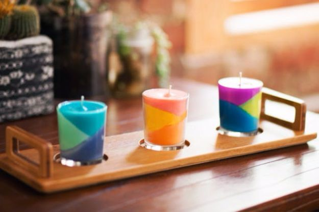 DIY Ideas for Candles - Use Crayons to Create Color Block Candles - Cute, Cheap and Creative Ways to Decorate With Candles - Votives and Candle Holders Make Some Of Our Favorite Home Decor Ideas and Homemade Do It Yourself Gifts - Give One of These Inexpensive Ideas to Mom, Dad and Friends - Easy Dollar Store Crafts With Candle http://diyjoy.com/diy-ideas-candles
