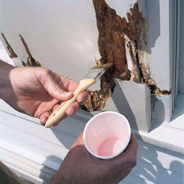 Easy Home Repair Hacks - Use Two-Part Epoxy to Fill Rotted Trim - Quick Ways To Fix Your Home With Cheap and Fast DIY Projects - Step by step Tutorials, Good Ideas for Renovating, Simple Tips and Tricks for Home Improvement on A Budget #diy #homeimprovement