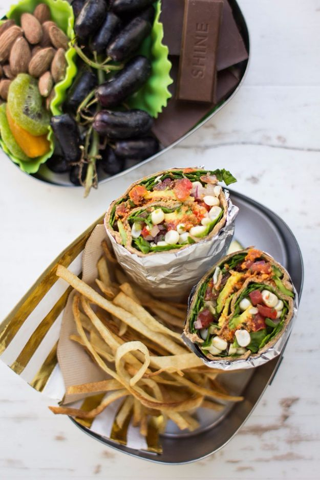 Back to School Lunch Ideas - Vegan Taco Salad Wrap - Quick Snacks, Lunches and Homemade Lunchables - Bento Box Style Lunch for People in A Hurry - Fast Lunch Recipes to Pack Ahead - Healthy Ideas for Kids, Teens and Adults http://diyjoy.com/back-to-school-lunches