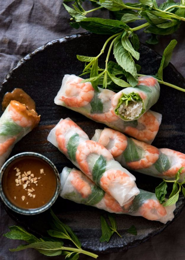 Easy Dinner Ideas for Two - Vietnamese Rice Paper Rolls - Quick, Fast and Simple Recipes to Make for Two People - Freeze and Make Ahead Dinner Recipe Tips for Best Weeknight Dinners - Chicken, Fish, Vegetable, No Bake and Vegetarian Options - Crockpot, Microwave, Healthy, Lowfat