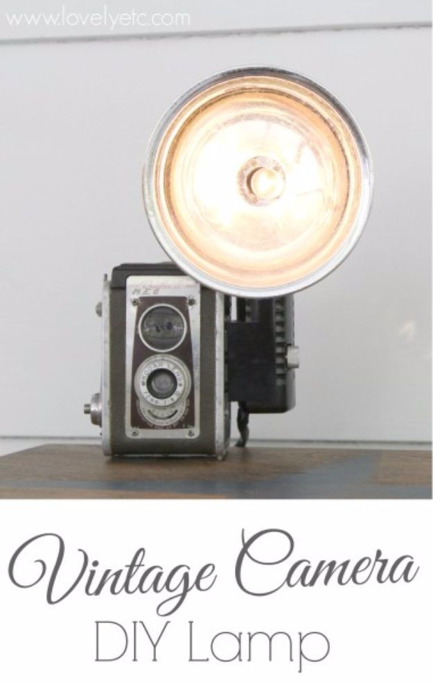 DIY Lighting Ideas and Cool DIY Light Projects for the Home - Vintage Camera DIY Lamp - Easy DIY Ideas for Chandeliers, lights, lamps, awesome pendants and creative hanging fixtures, complete with tutorials with instructions. Cheap do it yourself lighting tutorials for indoor - bedroom, living room, bathroom, kitchen DIY Projects and Crafts for Women and Men http://diyjoy.com/diy-indoor-lighting-ideas