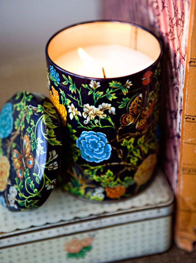 DIY Ideas for Candles - Vintage Tin Candles - Cute, Cheap and Creative Ways to Decorate With Candles - Votives and Candle Holders Make Some Of Our Favorite Home Decor Ideas and Homemade Do It Yourself Gifts - Give One of These Inexpensive Ideas to Mom, Dad and Friends - Easy Dollar Store Crafts With Candle http://diyjoy.com/diy-ideas-candles