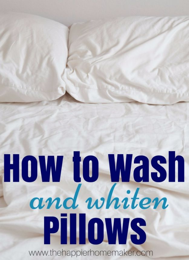Cleaning Tips and Tricks - Wash And Whiten Pillows - Best Cleaning Hacks, Recipes and Tutorials - Daily Ways to Clean For Kitchen, For Couches, Bathroom, Bedroom, Laundry, Floors, Furniture, Windows, Cleaners and More for Cleaning Your Home- Quick Ideas for Lazy People - Cool Cleaning Hack Tutorial - DIY Projects and Crafts by DIY JOY http://diyjoy.com/diy-cleaning-tips-tricks