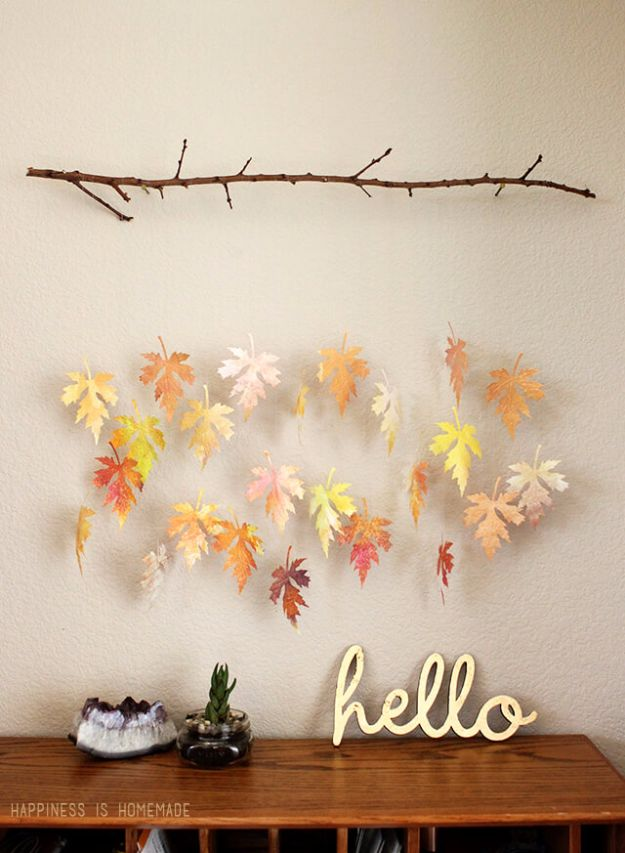 Best Crafts for Fall Decorating - Watercolor Paper Leaf And Branch Mobile - DIY Home Decor, Mason Jar Ideas, Dollar Store Crafts, Rustic Pumpkin Ideas, Wreaths, Candles and Wall Art, Centerpieces, Wedding Decorations, Homemade Gifts, Craft Projects with Leaves, Flowers and Burlap, Painted Art, Candles and Luminaries for Cool Home Decor - Quick and Easy Projects With Step by Step Tutorials and Instructions http://diyjoy.com/best-fall-decorating-ideas