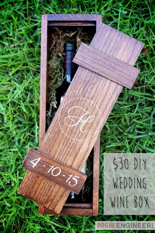 Cheap Wedding Gift Ideas - Wedding Wine Box - DIY Wedding Gifts You Can Make On A Budget - Quick and Easy Ideas for Handmade Presents for the Couple Getting Married - Inexpensive Things To Make for Bride and Groom - DIY Home Decor, Wall Art, Glassware, Furniture, Tableware, Place Settings, Cake and Cookie Plates and Glasses http://diyjoy.com/cheap-diy-wedding-gift-ideas