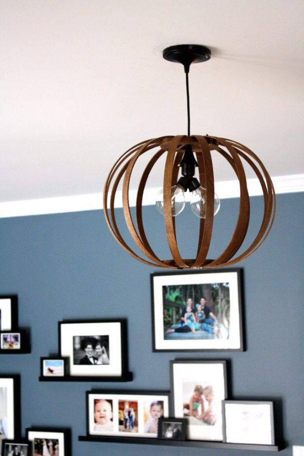 DIY Lighting Ideas and Cool DIY Light Projects for the Home - West Elm Inspired Bentwood Pendant Light - Easy DIY Ideas for Chandeliers, lights, lamps, awesome pendants and creative hanging fixtures, complete with tutorials with instructions. Cheap do it yourself lighting tutorials for indoor - bedroom, living room, bathroom, kitchen DIY Projects and Crafts for Women and Men