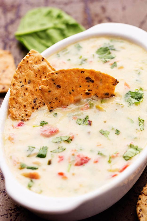 Best Dip Recipes - White Spinach Queso Dip - Easy Recipe Ideas for A Party Appetizer - Cold Recipe Ideas for Chips, Crockpot, Mexican Bean Dip, Desserts and Healthy Fruit Options - Italian Dressing and Ranch Dip Recipe Ideas http://diyjoy.com/best-dip-recipes