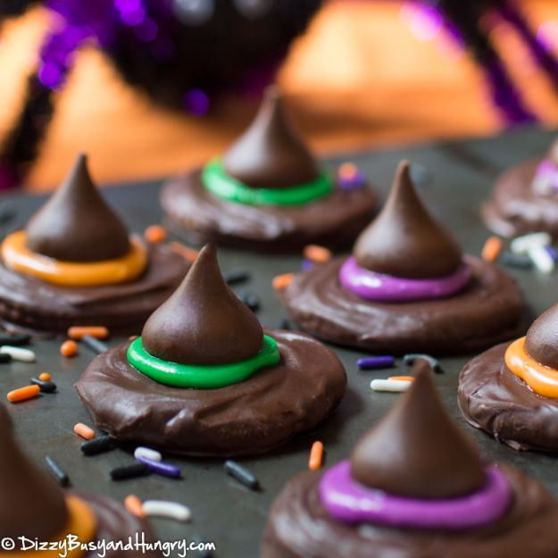 Cute Halloween Cookies - Witch Hat Cookies - Easy Recipes and Cookie Tutorials for Making Quick Halloween Treats - Spooky DIY Decorated Ghosts, Pumpkins, Bats, No Bake, Spiders and Spiderwebs, Tombstones and Healthy Options, Kids and Teens Cookies for School #halloween #halloweencookies