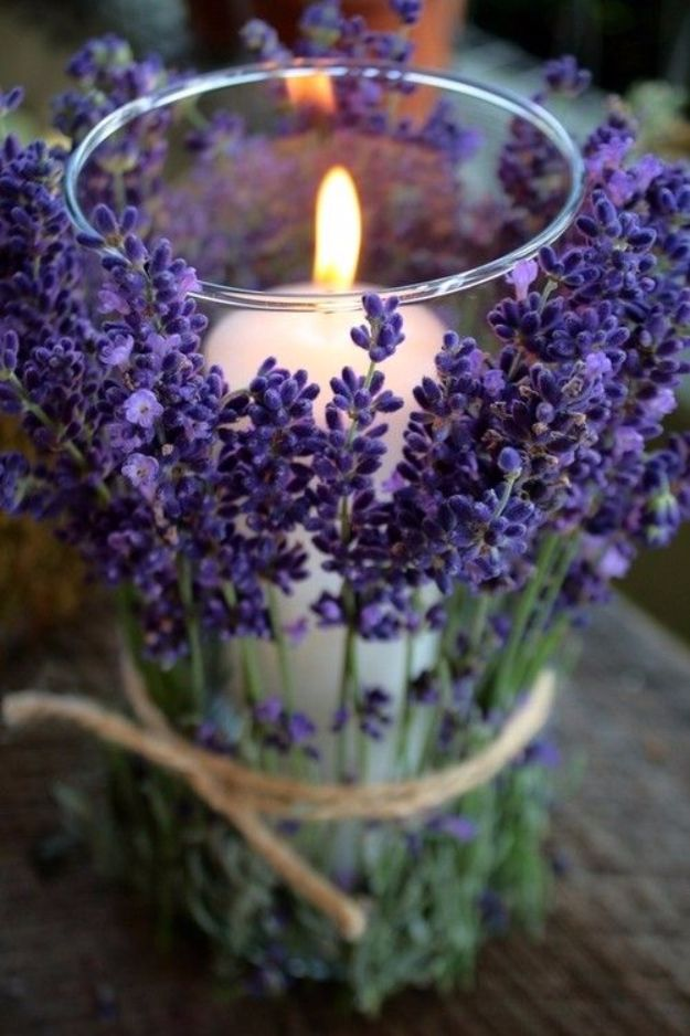 DIY Ideas for Candles - Wrap Lavender Around Candles - Cute, Cheap and Creative Ways to Decorate With Candles - Votives and Candle Holders Make Some Of Our Favorite Home Decor Ideas and Homemade Do It Yourself Gifts - Give One of These Inexpensive Ideas to Mom, Dad and Friends - Easy Dollar Store Crafts With Candle http://diyjoy.com/diy-ideas-candles