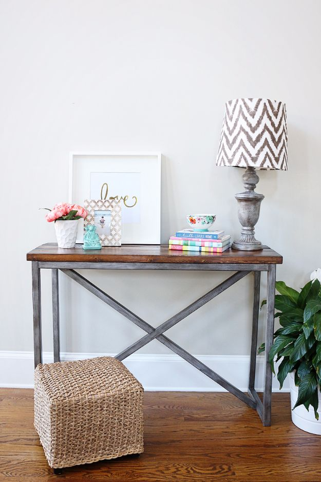 DIY Media Consoles and TV Stands - X Based Console Table - Make a Do It Yourself Entertainment Center With These Easy Step By Step Tutorials - Easy Farmhouse Decor Media Stand for Television - Free Plans and Instructions for Building and Painting Your Own DIY Furniture - IKEA Hacks for TV Stand Idea - Quick and Easy Ways to Decorate Your Home On A Budget http://diyjoy.com/diy-tv-media-consoles