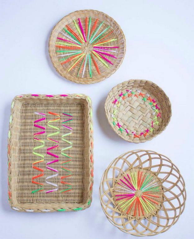 DIY Ideas With Yarn and Best Yarn Crafts - Yarn Embroidered Baskets - Wall Hangings, Easy Dream Catchers, Crochet Ideas for Teens, Adults and Kids - Knitting , No Sew and Weaving Projects Make Awesome Wall Art and Home Decor on A Budget http://diyjoy.com/diy-ideas-yarn