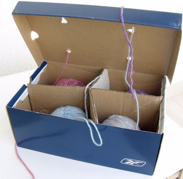 DIY Ideas With Shoe Boxes - Yarn Organizer - Shoe Box Crafts and Organizers for Storage - How To Make A Shelf, Makeup Organizer, Kids Room Decoration, Storage Ideas Projects - Cheap Home Decor DIY Ideas for Kids, Adults and Teens Rooms http://diyjoy.com/diy-ideas-shoe-boxes