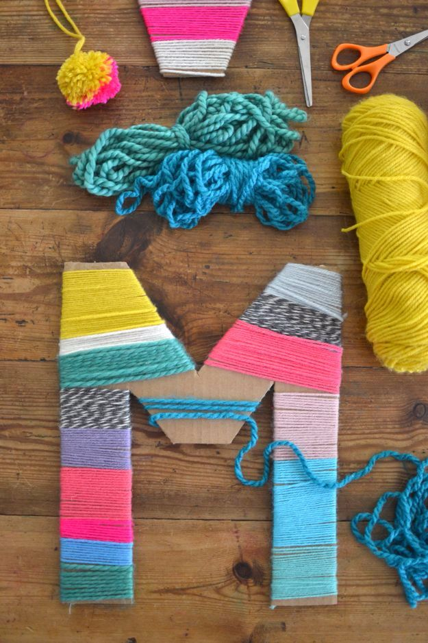 DIY Ideas With Yarn and Best Yarn Crafts - Yarn Wrapped Cardboard Letters - Wall Hangings, Easy Dream Catchers, Crochet Ideas for Teens, Adults and Kids - Knitting , No Sew and Weaving Projects Make Awesome Wall Art and Home Decor on A Budget