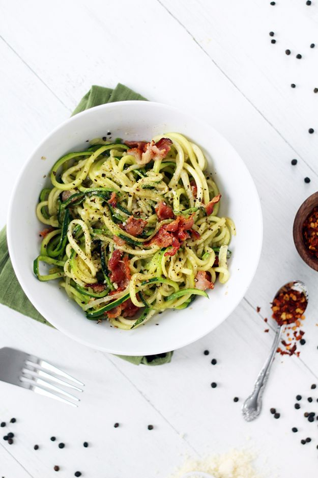 Easy Dinner Ideas for Two - Zucchini Noodle Bacon Cacio E Pepe - Quick, Fast and Simple Recipes to Make for Two People - Freeze and Make Ahead Dinner Recipe Tips for Best Weeknight Dinners - Chicken, Fish, Vegetable, No Bake and Vegetarian Options - Crockpot, Microwave, Healthy, Lowfat Options http://diyjoy.com/easy-dinners-for-two
