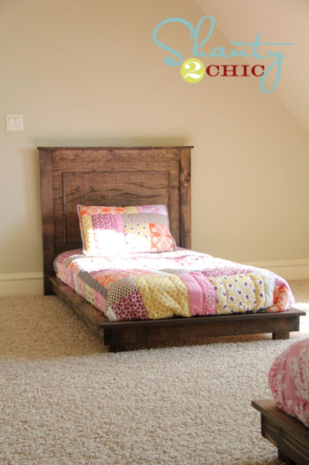 DIY Platform Beds - $30 Pottery Barn Inspired Twin Platform Bed - Easy Do It Yourself Bed Projects - Step by Step Tutorials for Bedroom Furniture - Learn How To Make Twin, Full, King and Queen Size Platforms - With Headboard, Storage, Drawers, Made from Pallets - Cheap Ideas You Can Make on a Budget http://diyjoy.com/diy-platform-beds