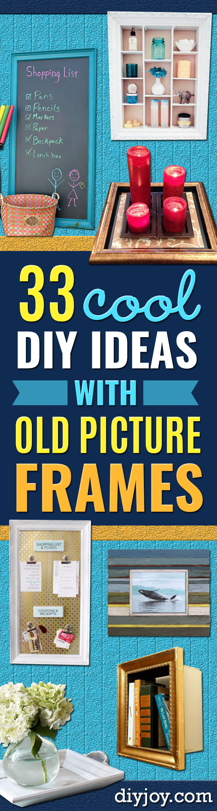 DIY Ideas With Old Picture Frames - Cool Crafts To Make With A Repurposed Picture Frame - Cheap Do It Yourself Gifts and Home Decor on A Budget - Fun Ideas for Decorating Your House and Room http://diyjoy.com/diy-ideas-picture-frames