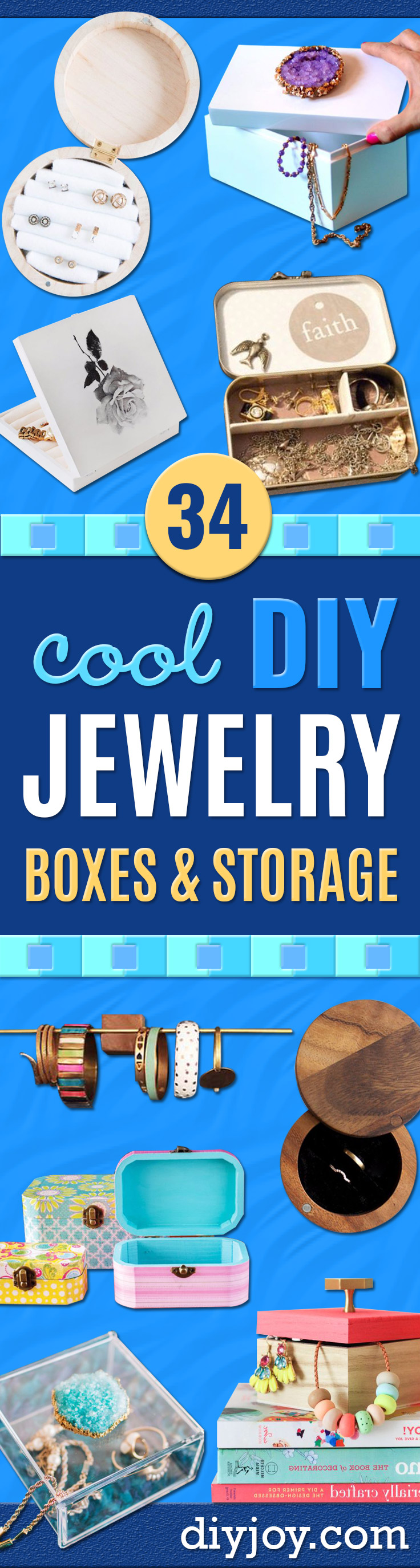 DIY Jewelry Ideas - How To Make the Coolest Jewelry Ideas For Kids and Teens - Homemade Wooden and Plastic Jewelry Box Plans - Easy Cardboard Gift Ideas - Cheap Wall Makeover and Organizer Projects With Drawers Men http://diyjoy.com/diy-jewelry-boxes-storage