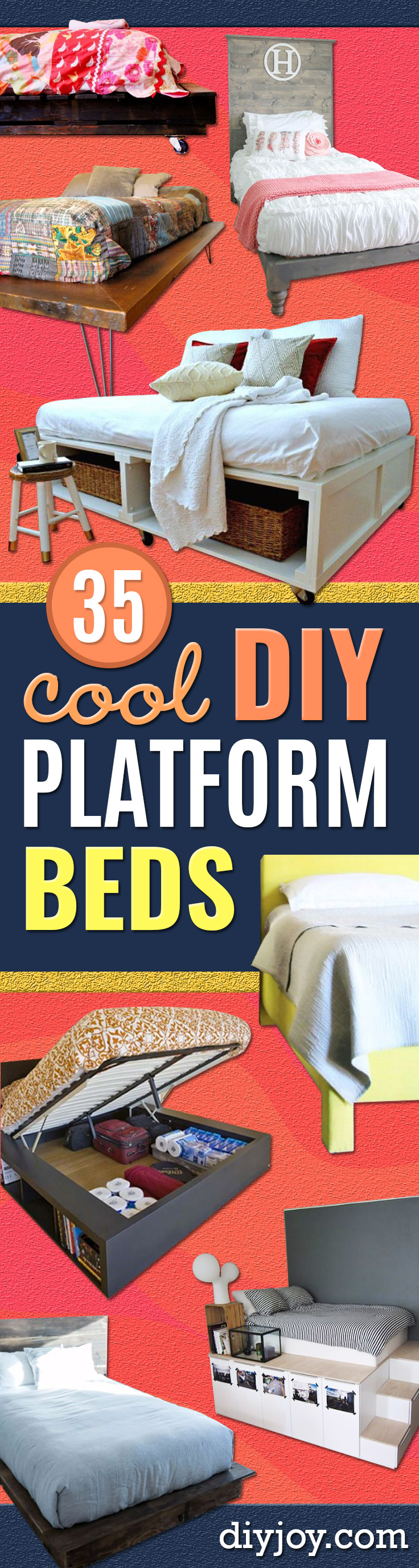 DIY Platform Beds - Easy Do It Yourself Bed Projects - Step by Step Tutorials for Bedroom Furniture - Learn How To Make Twin, Full, King and Queen Size Platforms - With Headboard, Storage, Drawers, Made from Pallets - Cheap Ideas You Can Make on a Budget
