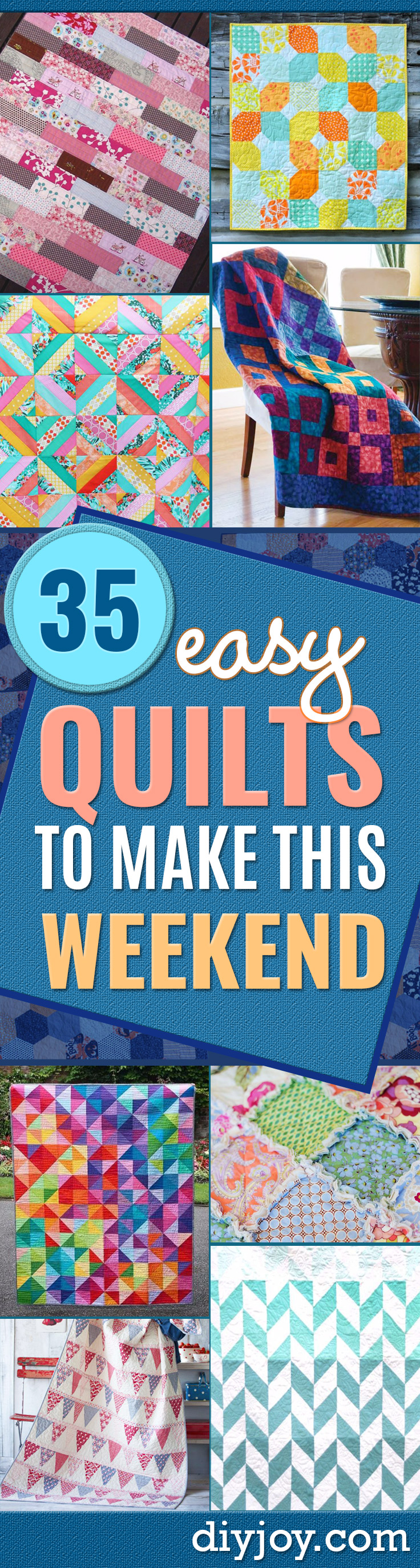 35 Easy Quilts To Make This Weekend - DIY Joy : quilts to make in a weekend - Adamdwight.com