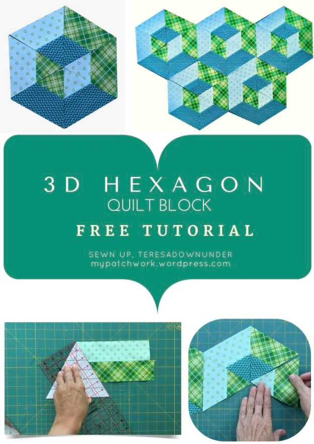 Best Quilts to Make This Weekend - 3D Hexagon Quilt Block - Free Quilt Patterns and Quilting Tutorials - Quilting for Beginners and Sewing Ideas - DIY Baby Quilts, Printables, New and Easy Modern Quilts, Jelly Roll, Quilt Squares, Fat Quarters and Scrap Ideas #diy #quilting #sewing