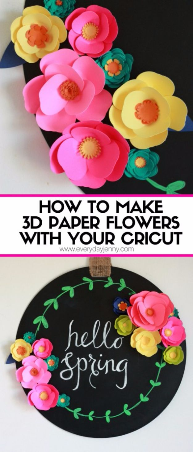 DIY Paper Flowers - 3D Paper Flowers With Your Cricut - How To Make A Paper Flower - Large Wedding Backdrop for Wall Decor - Easy Tissue Paper Flower Tutorial for Kids - Giant Projects for Photo Backdrops - Daisy, Roses, Bouquets, Centerpieces - Cricut Template and Step by Step Tutorial http://diyjoy.com/diy-paper-flowers