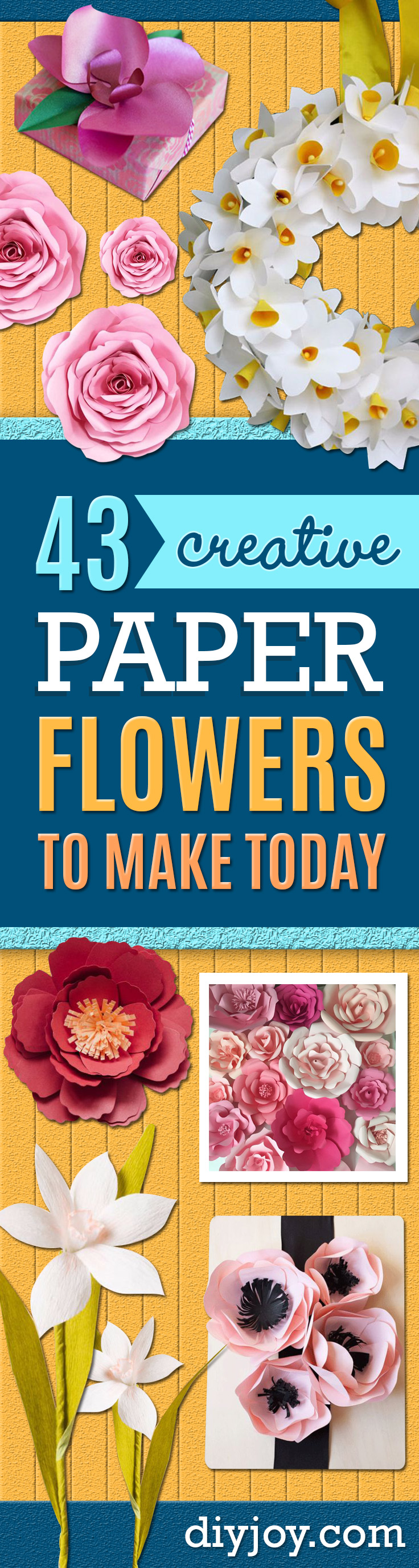DIY Paper Flowers - How To Make A Paper Flower - Large Wedding Backdrop for Wall Decor - Easy Tissue Paper Flower Tutorial for Kids - Giant Projects for Photo Backdrops - Daisy, Roses, Bouquets, Centerpieces - Cricut Template and Step by Step Tutorial http://diyjoy.com/diy-paper-flowers