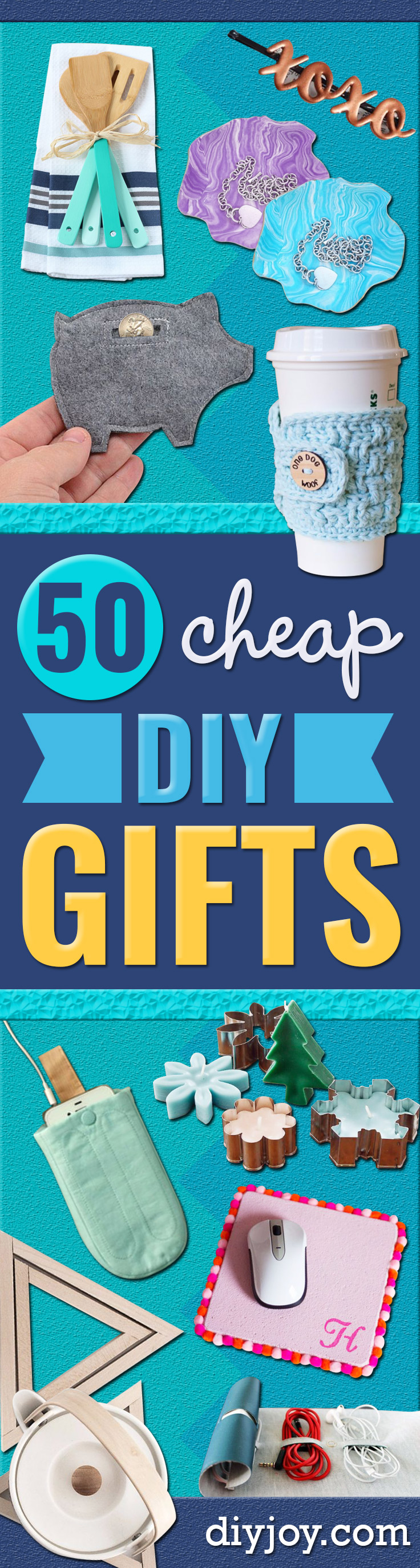 Cheap DIY Gifts and Inexpensive Homemade Christmas Gift Ideas for People on A Budget - To Make These Cool Presents Instead of Buying for the Holidays - Easy and Low Cost Gifts for Mom, Dad, Friends and Family - Quick Dollar Store Crafts and Projects for Xmas Gift Giving Parties - Step by Step Tutorials and Instructions http://diyjoy.com/cheap-holiday-gift-ideas-to-make