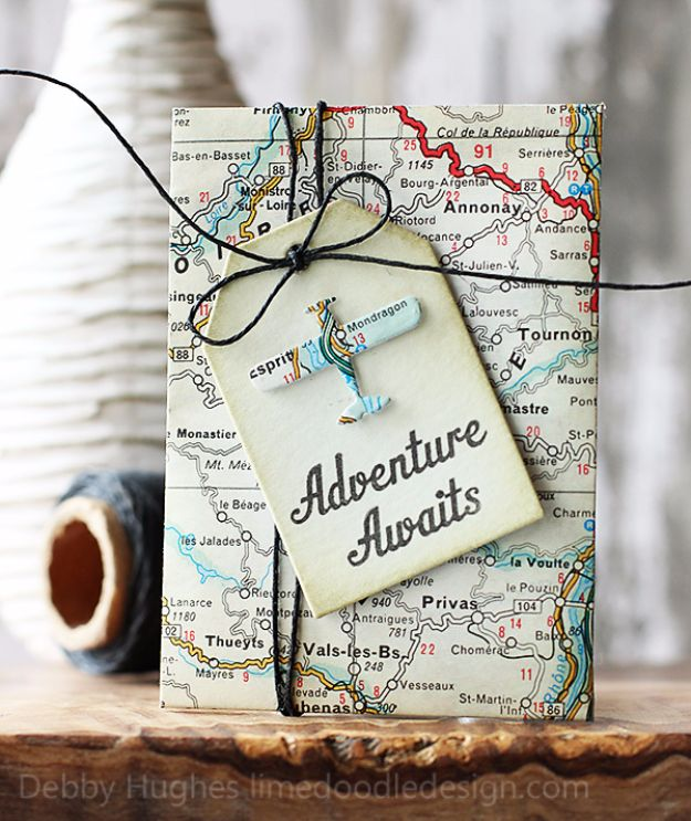 Cool Gift Wrapping Ideas - Adventure Awaits - Creative Ways To Wrap Presents on A Budget - Best Christmas Gift Wrap Ideas - How To Make Gift Bags, Reuse Wrapping Paper, Make Bows and Tags - Cute and Easy Ideas for Wrapping Gifts for the Holidays - Step by Step Instructions and Photo Tutorials