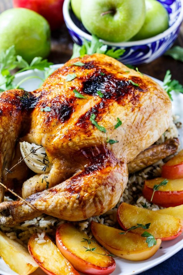 Best Fall Recipes and Ideas for Dinner - Apple Cider Glazed Roasted Chicken - Quick Meals With Chicken, Beef and Fish, Easy Crockpot Meals and Make Ahead Soups and Dinners - Healthy Dinner Recipes and Fast Last Minute Foods With Spinach, Vegetables, Butternut Squash, Pumpkin and Nuts