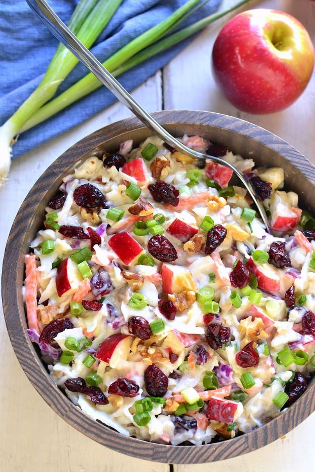 Best Fall Recipes and Ideas for Dinner - Apple Cranberry Coleslaw - Quick Meals With Chicken, Beef and Fish, Easy Crockpot Meals and Make Ahead Soups and Dinners - Healthy Dinner Recipes and Fast Last Minute Foods With Spinach, Vegetables, Butternut Squash, Pumpkin and Nuts