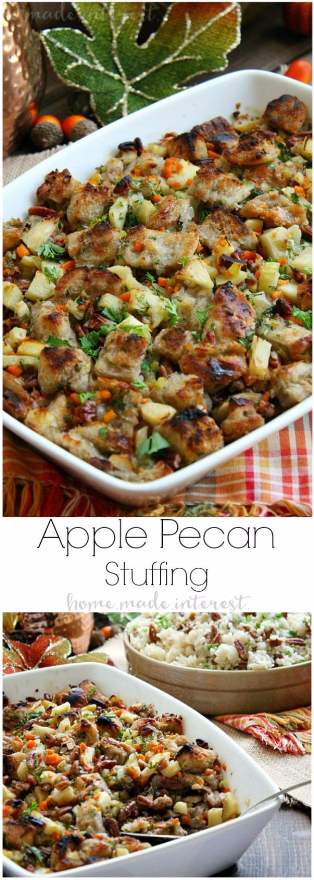 Healthy Thanksgiving Recipes - Apple Pecan Stuffing - Low fat Versions of Your Favorite Holiday Recipe for Turkey, Stuffing, Gravy, Pie and Desserts, Appetizers, Vegetables and Side Dishes like Spinach, Broccoli, Cranberries, Mashed Potatoes, Sweet Potatoes and Green Beans - Easy and Quick Last Minute Thanksgiving Recipes for Low Carb, Low Fat and Clean Eating Diets http://diyjoy.com/healthy-thanksgiving-recipes