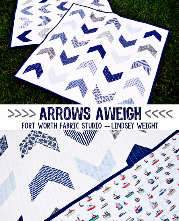 Best Quilts to Make This Weekend - Arrows Aweigh Boy Quilt - Free Quilt Patterns and Quilting Tutorials - Quilting for Beginners and Sewing Ideas - DIY Baby Quilts, Printables, New and Easy Modern Quilts, Jelly Roll, Quilt Squares, Fat Quarters and Scrap Ideas #diy #quilting #sewing